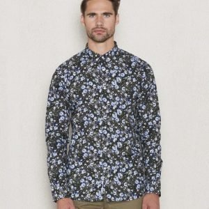 Knowledge Cotton Apparel Flower Shirt 1091 Peacoat