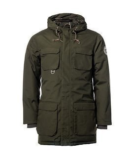 Knowledge Cotton Apparel Heavy Parka Jacket Forest Night
