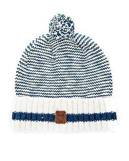 Knowledge Cotton Apparel Heavy Slope Striped Hat Winter White