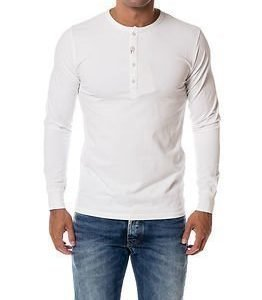 Knowledge Cotton Apparel Henley Bright White