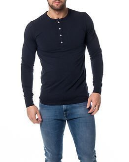 Knowledge Cotton Apparel Henley Total Eclipse