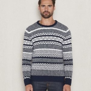 Knowledge Cotton Apparel Jaquard Knit 1001 Navy