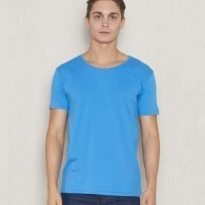 Knowledge Cotton Apparel Loose Fit O-Neck 1132 Mediterranan Blue