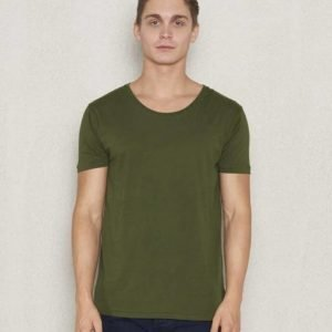 Knowledge Cotton Apparel Loose Fit O-Neck 1176 Rifle Green