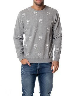 Knowledge Cotton Apparel Owl Print Sweatshirt Grey Melange