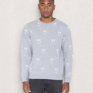Knowledge Cotton Apparel Owl Sweat 1012 Greymelange