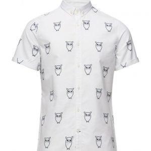 Knowledge Cotton Apparel Oxford W/Owl Print S/S lyhythihainen paita