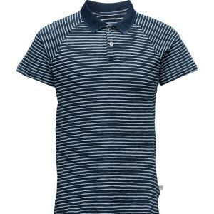 Knowledge Cotton Apparel Polo W/Stripes Indigo lyhythihainen pikeepaita