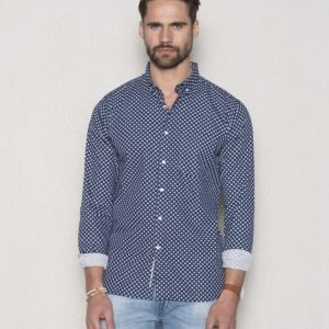 Knowledge Cotton Apparel Poplin Shirt Dot Print 1001 Total Eclipse