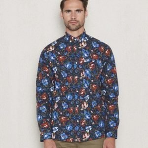 Knowledge Cotton Apparel Rose Shirt 1001 Navy