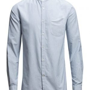 Knowledge Cotton Apparel Stand Collar Striped Shirt Gots