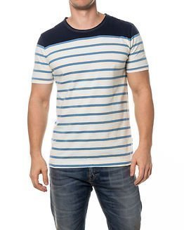 Knowledge Cotton Apparel Yarn Dyed Contrast Stripe Tee Blue