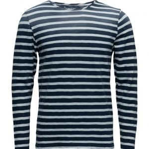 Knowledge Cotton Apparel Yarn Dyed Striped Tee Long Dip Dy pitkähihainen t-paita