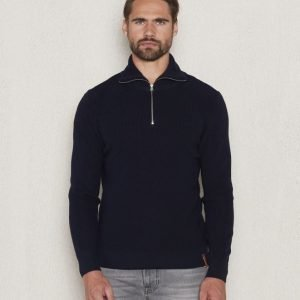 Knowledge Cotton Apparel Zip Knit 1001 Navy