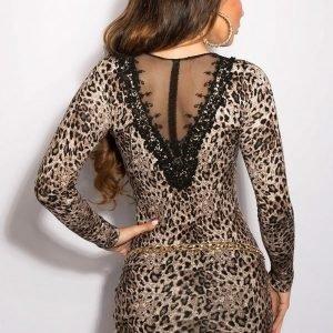 Koucla leopardikuvioinen koristekirjailtu neulemekko