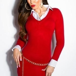 Koucla punainen 2in1 neulemekko kauluspaidalla