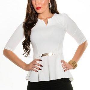 Koucla valkoinen 3/4-hihainen peplum-paita