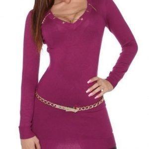 Koucla violetti ketjukoristeinen neulemekko