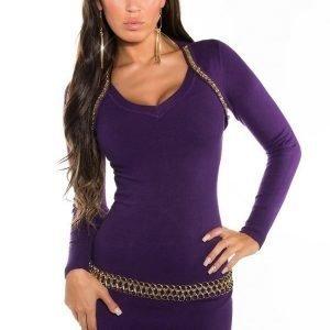 Koucla violetti kultakoristeinen neulemekko