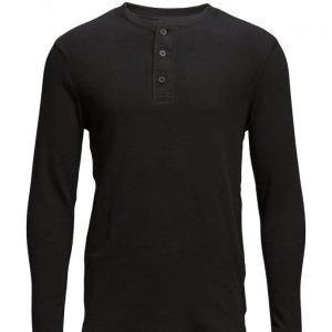 LEVI´S Men Ls Slim Waffle Henley Jet Blac pitkähihainen t-paita