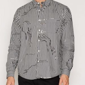 L'Homme Rouge Closed Eyes Shirt Kauluspaita Musta/Raidallinen