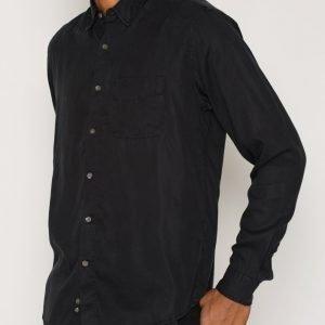 L'Homme Rouge Original Tencel Shirt Kauluspaita Musta