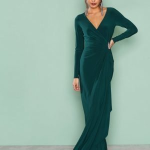 Lauren Ralph Lauren Pascha Long Sleeve Evening Dress Maksimekko Green