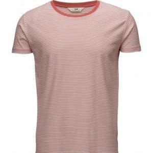 Lee Jeans Ss Stripe Tee Faded Red lyhythihainen t-paita