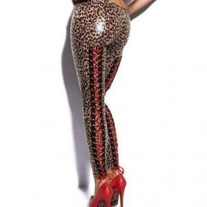 Leopard Faux Leather Wetlook Leggings Tights with red lace bands
