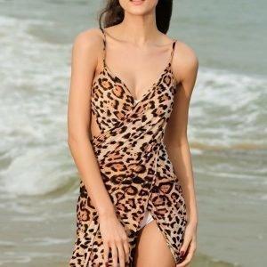 Leopardikuvioinen kietaisumekko