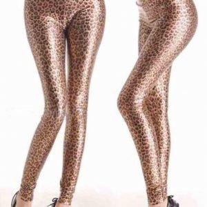 Leopardikuvioiset wetlook leggingsit