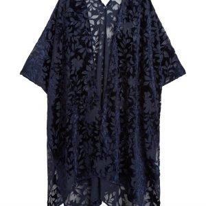 Lindex Kimono Jossa Samettikuviointi Sininen