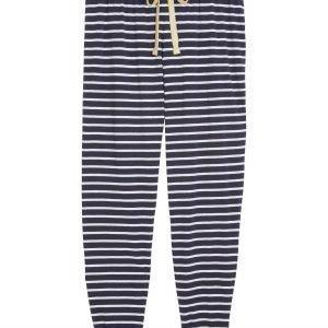 Lindex Raidalliset Pyjamahousut Sininen