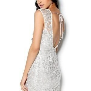 Lipsy Love Back Lace Dress White Metallic