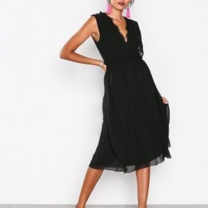 Little Mistress Detailed Lace Back Dress Skater Mekko Black