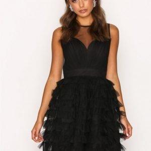 Little Mistress Mesh Detail Dress Skater Mekko Black