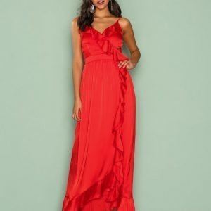 Little Mistress Wrap Ruffle Front Maxi Dress Maksimekko Red