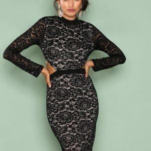 Love Triangle Back To Black Lace Dress Kotelomekko Black