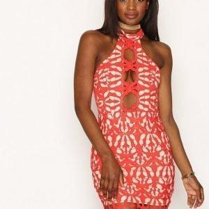 Love Triangle Cut Out Lace Mini Dress Kotelomekko Red