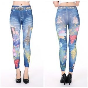 Lovely denim leggings with grapes jeans print leggings