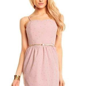 LucyCo vaaleanpunainen mekko vyöllä