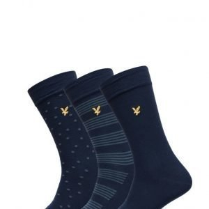 Lyle & Scott 3 Pack Of Navy Patterned Socks nilkkasukat