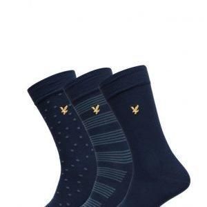 Lyle & Scott 3 Pack Of Navy Patterned Socks nilkkasukat