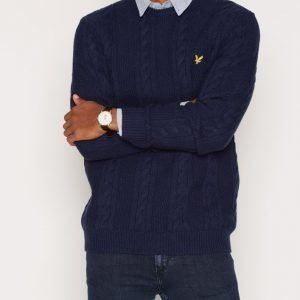 Lyle & Scott Crew Neck Lambswool Cable 5GG Jumper Pusero Navy