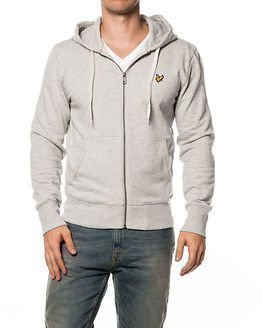 Lyle & Scott Zip Through Hooded Light Grey Marl