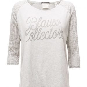 Maison Scotch 3/4 Sleeve Logo Tee With Logo Burnout Artwork