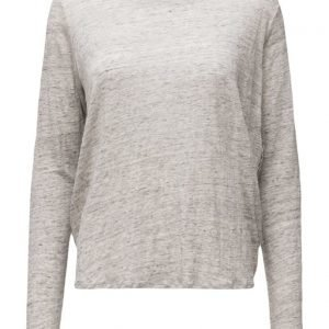 Maison Scotch Long Sleeve Linen Tee With Woven Back