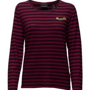 Maison Scotch Long Sleeve Striped Tee With Chest Badge