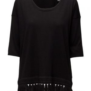 Maison Scotch Short Sleeve Knit With Fringed Hem neulepusero