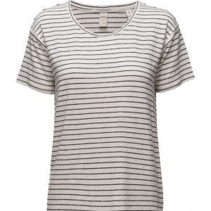 Maison Scotch Short Sleeve Linen Tee In Fun Colours & Stripes